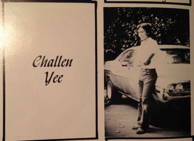 I didn't know the PALY yearbook staff was not print my write up I submitted with my photo. At the discretion of some high schooler in 1980, I will only be known as the guy with his Challenger